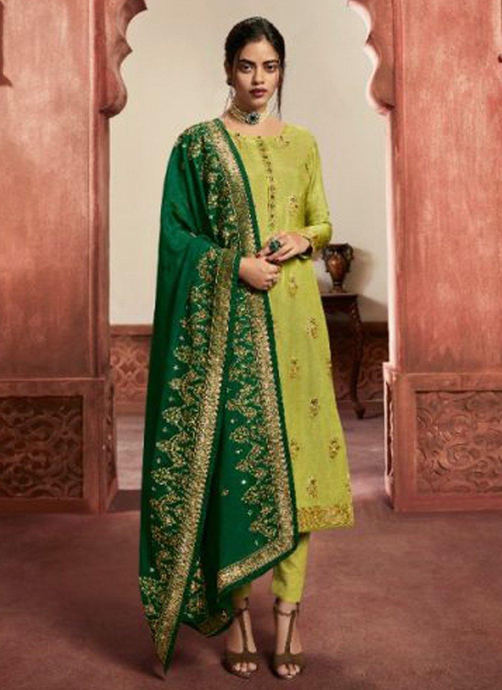 Jacquard Silk Sangeet Pant Style Suit