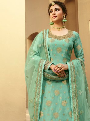 Jacquard Silk Sea Green Embroidered Designer Palazzo Suit