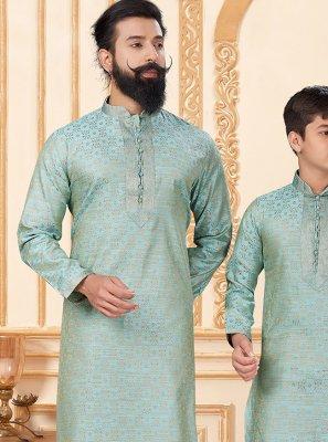 Jacquard Silk Sea Green Kurta Pyjama