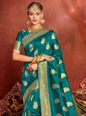 Jacquard Silk Teal Designer Traditional Saree