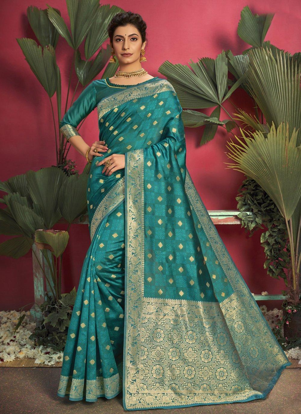 Jacquard Silk Weaving Rama Traditional Saree