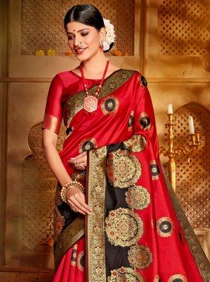 Jacquard Silk Weaving Red Designer Traditional Saree