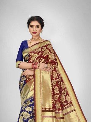 Jacquard Silk Weaving Silk Saree in Blue and Maroon