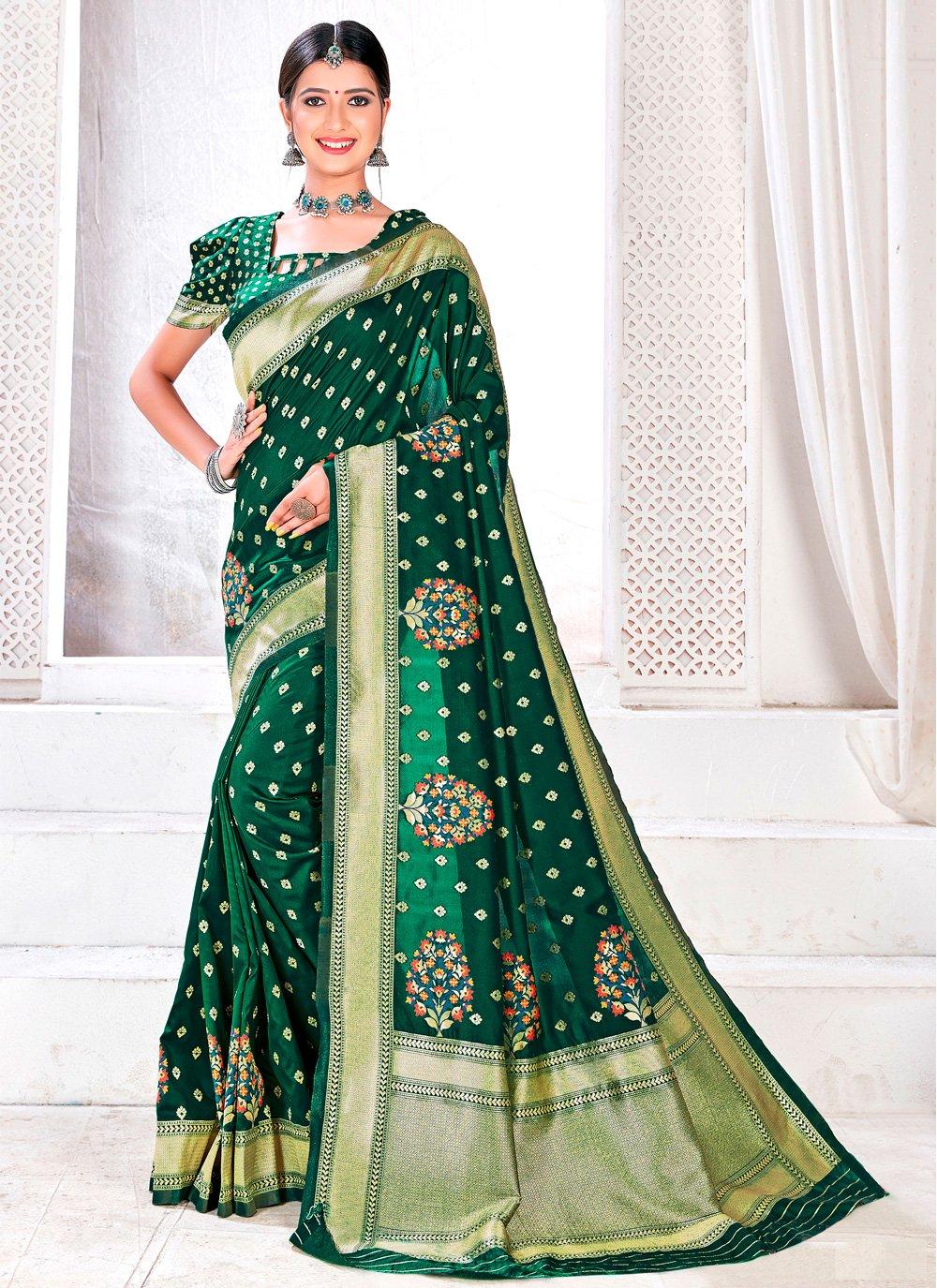 Jacquard Silk Woven Green Traditional Saree