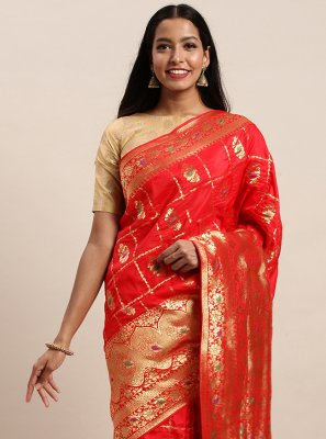 Jacquard Silk Woven Red Traditional Designer Saree