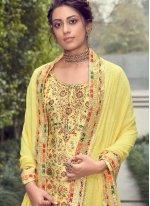 Jacquard Silk Yellow Designer Pakistani Suit