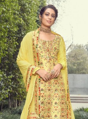 Jacquard Silk Yellow Designer Pakistani Suit