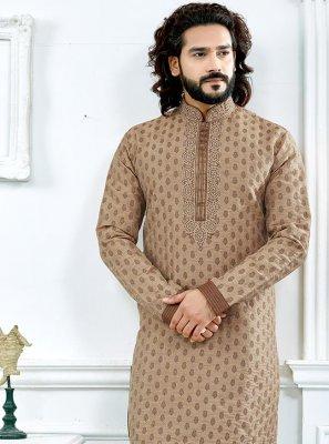 Jacquard Weaving Kurta Pyjama in Brown