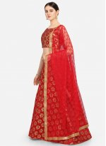 Jacquard Weaving Red A Line Lehenga Choli