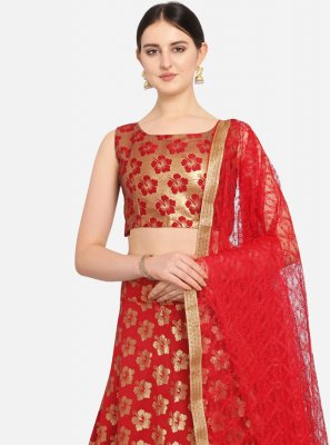Jacquard Weaving Red A Line Lehenga Choli