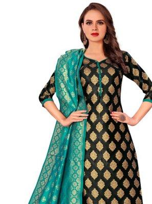 Jacquard Work Banarasi Silk Black Salwar Kameez