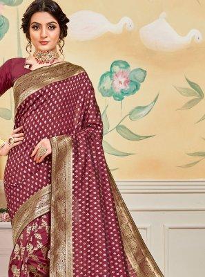 Jacquard Work Banarasi Silk Pink Traditional Designer Saree