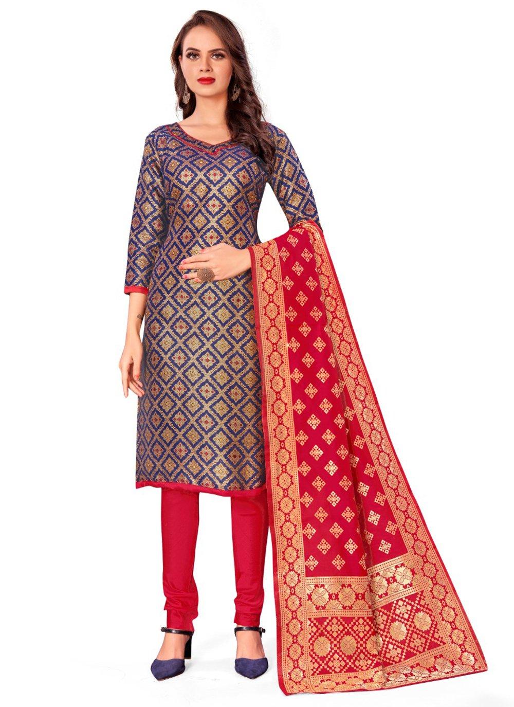 Jacquard Work Blue Banarasi Silk Churidar Designer Suit