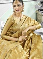 Kanchipuram Silk Woven Gold Bollywood Saree