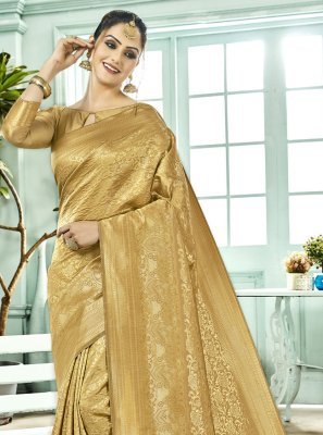 Kanchipuram Silk Woven Gold Bollywood Saree