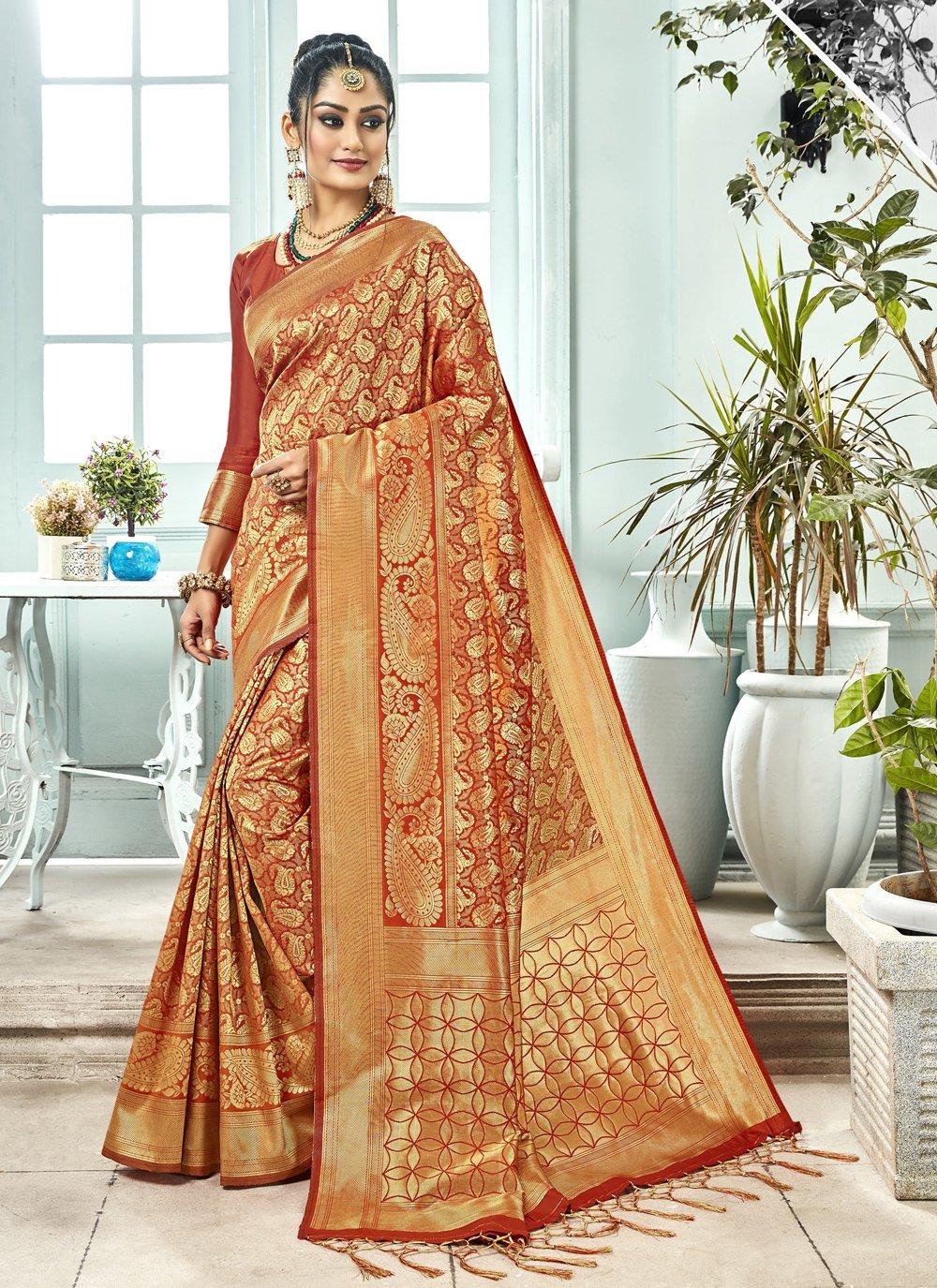 Kanchipuram Silk Woven Maroon Classic Saree