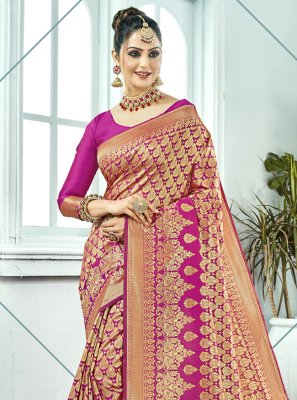 Kanchipuram Silk Woven Pink Traditional Saree