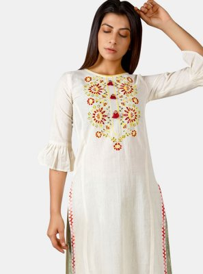 Khadi Embroidered Party Wear Kurti
