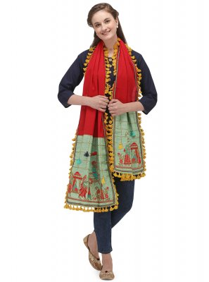 Khadi Green and Red Embroidered Designer Dupatta