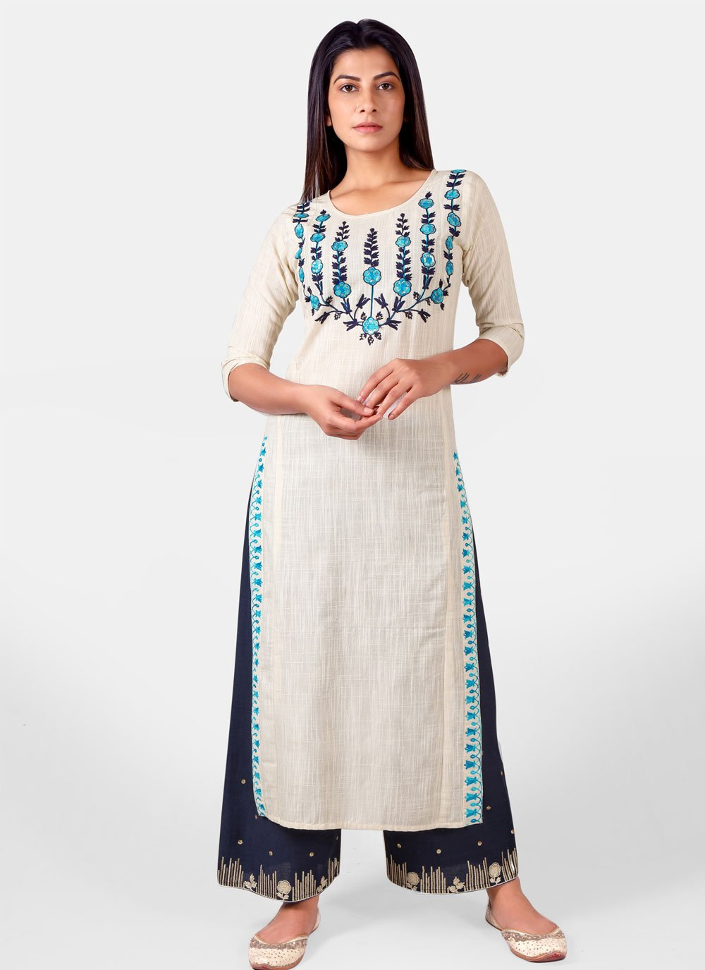 Khadi Off White Embroidered Party Wear Kurti