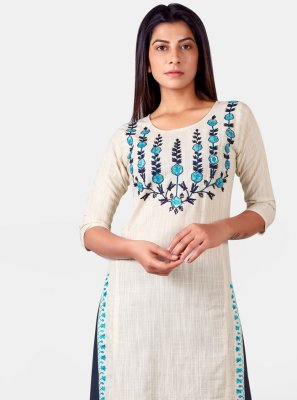 Khadi Off White Embroidered Party Wear Kurti