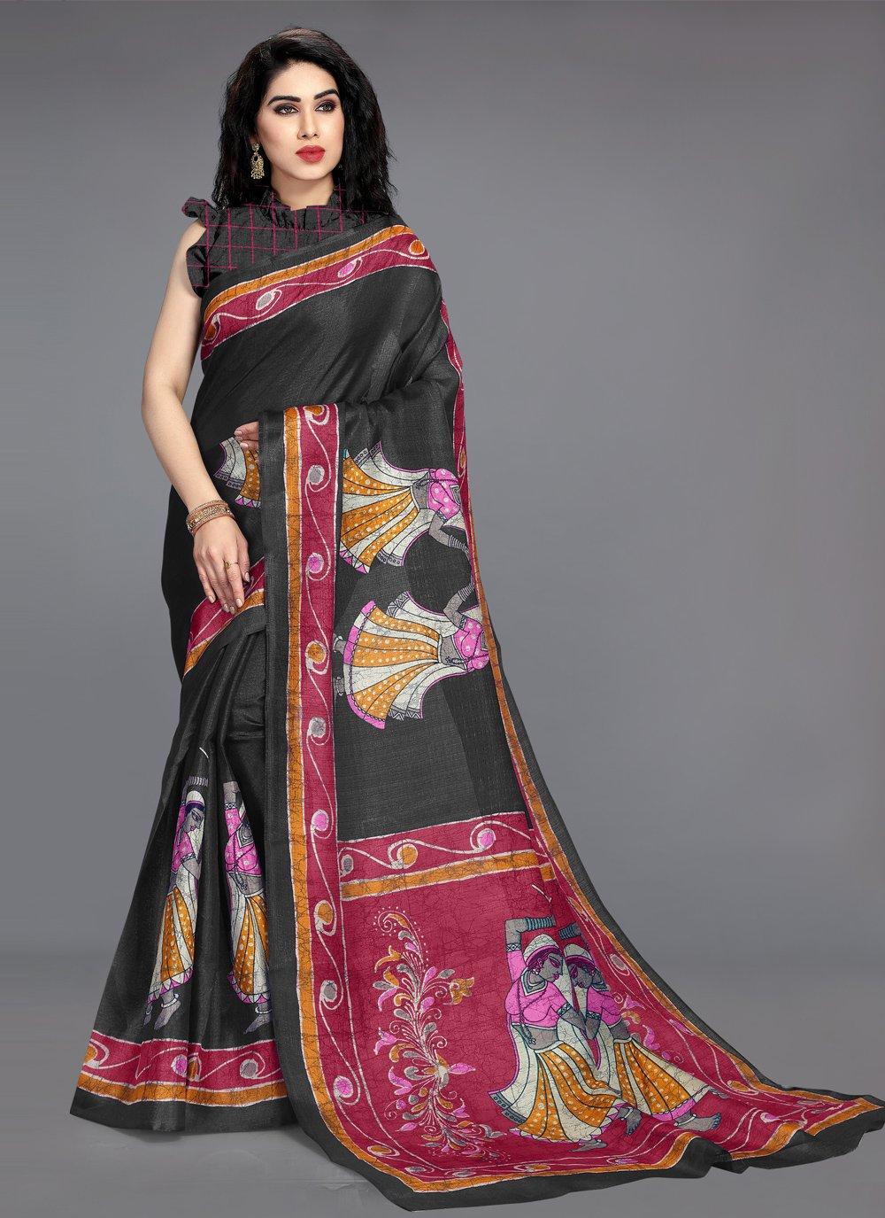 Khadi Silk Black Printed Saree