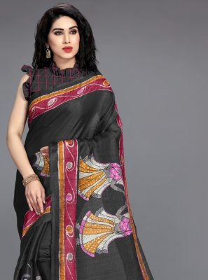 Khadi Silk Black Printed Saree