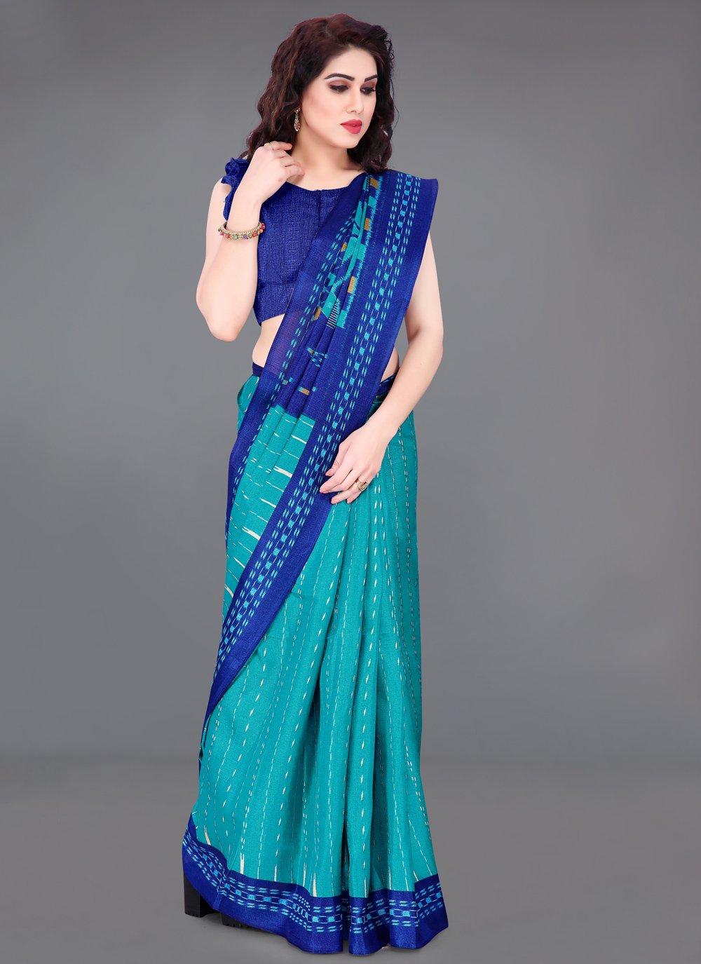 Khadi Silk Blue Printed Printed Saree