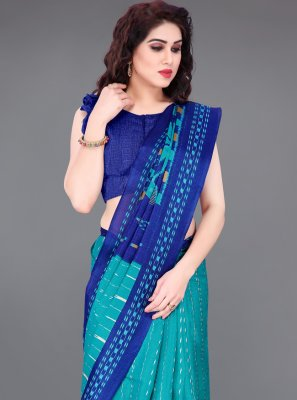 Khadi Silk Blue Printed Printed Saree