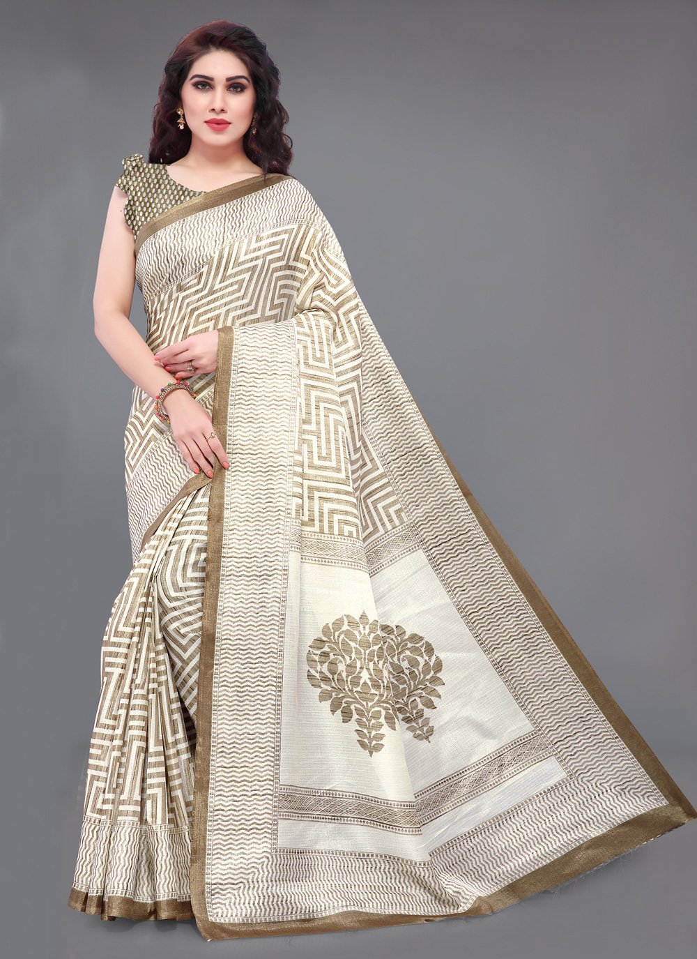 Khadi Silk Bollywood Saree in Brown