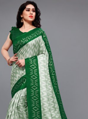 Khadi Silk Green and Off White Printed Saree