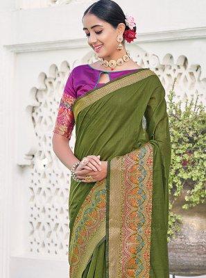 Khadi Silk Green Weaving Silk Saree