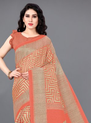 Khadi Silk Orange Designer Saree