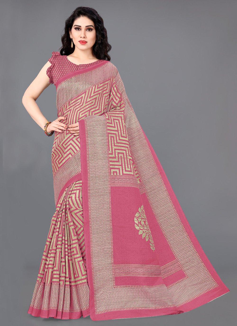 Khadi Silk Pink Printed Contemporary Saree