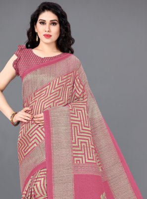 Khadi Silk Pink Printed Contemporary Saree
