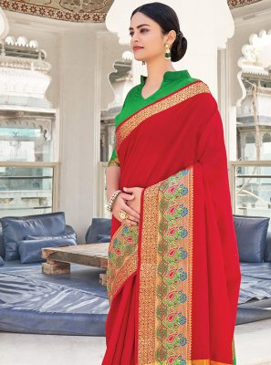Khadi Silk Silk Saree in Red