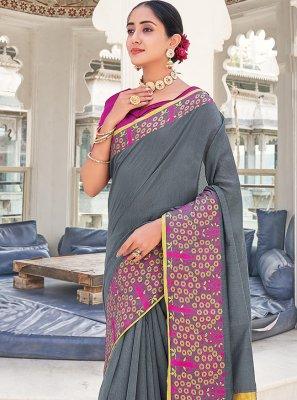 Khadi Silk Weaving Silk Saree in Grey