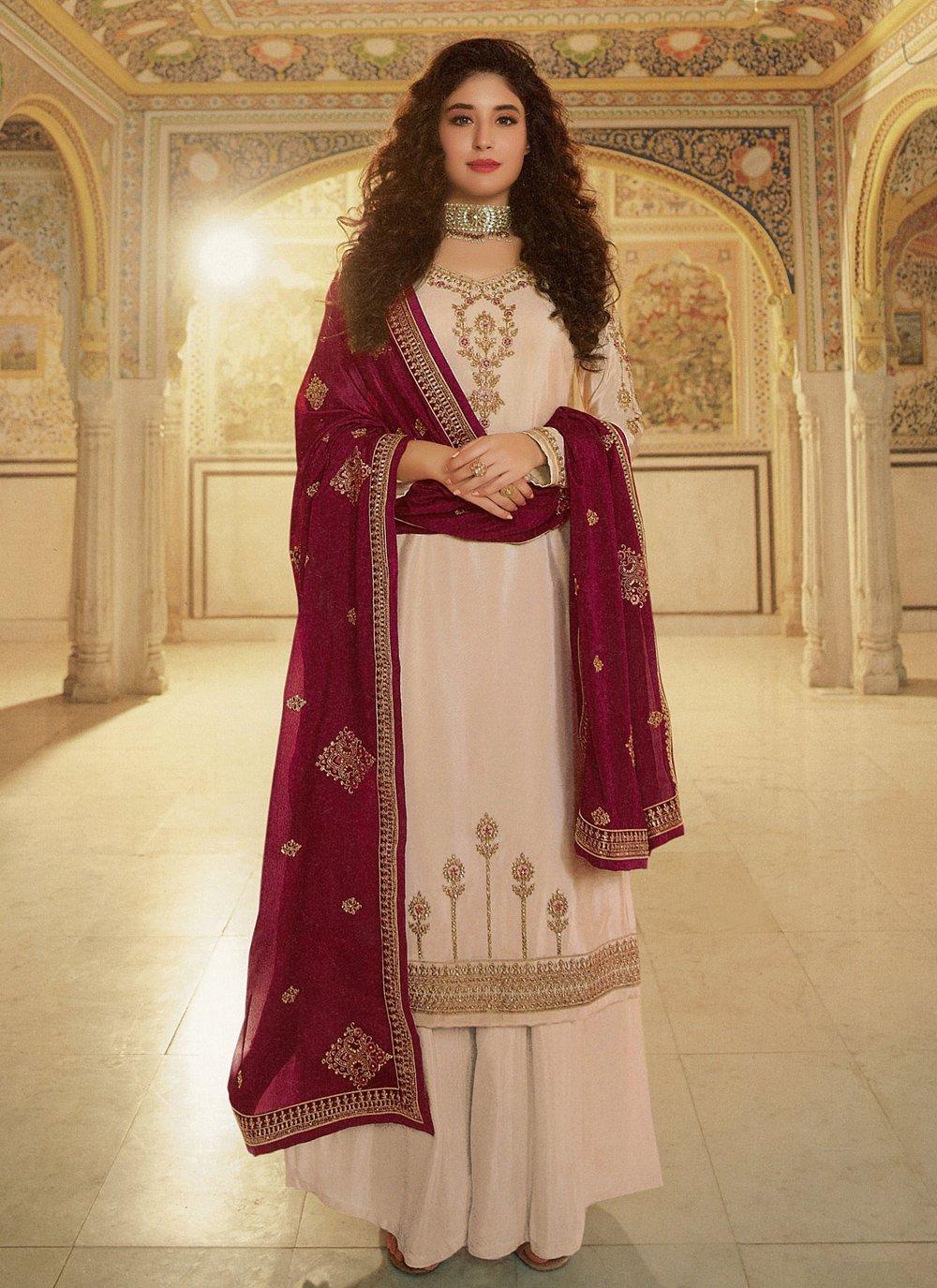 Kritika Kamra Cream Faux Georgette Designer Palazzo Suit