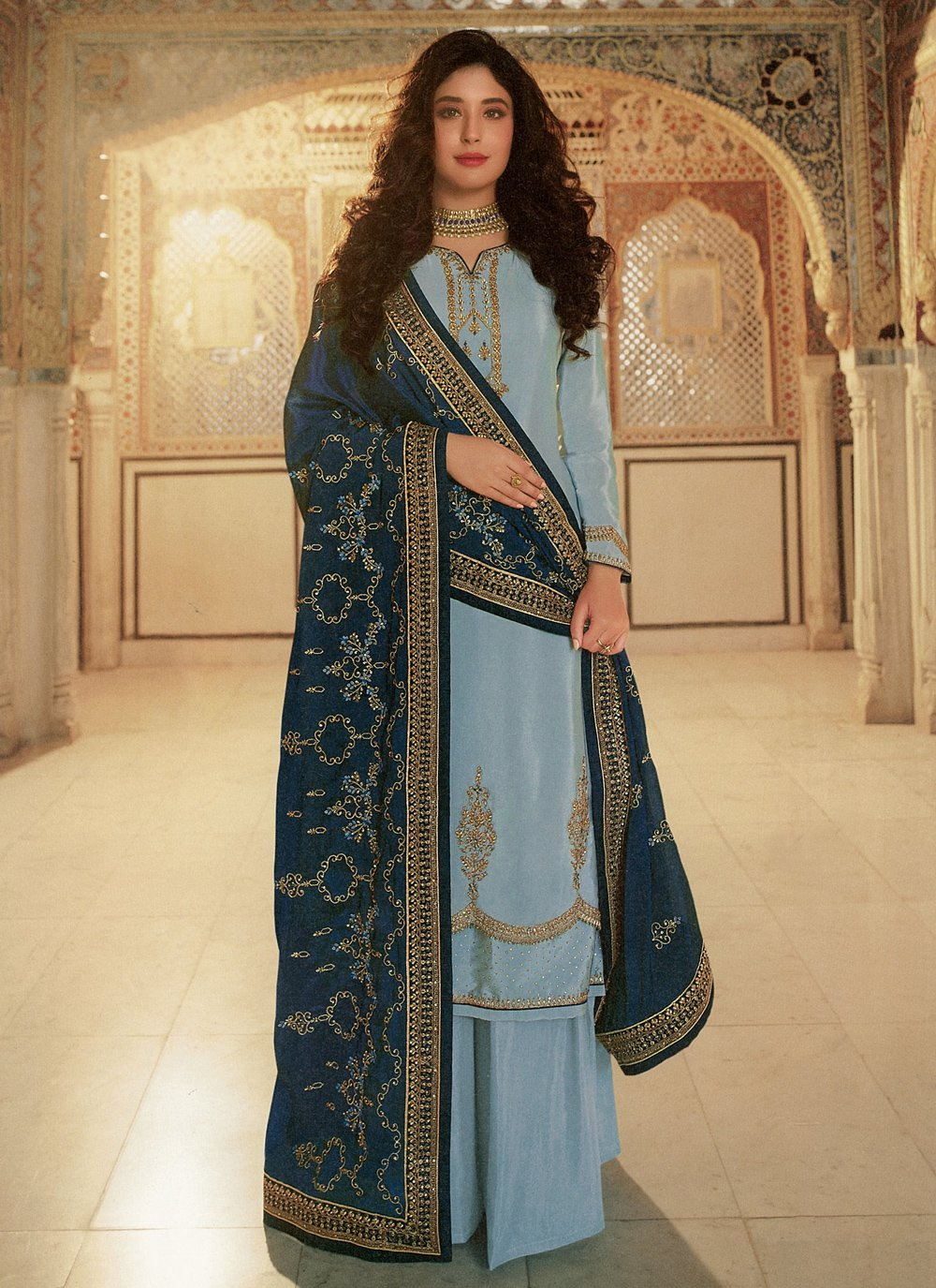 Kritika Kamra Faux Georgette Embroidered Designer Palazzo Suit