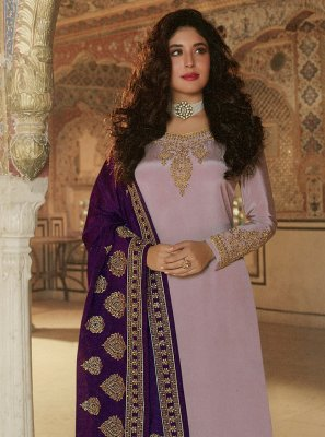 Kritika Kamra Lavender Faux Georgette Resham Designer Palazzo Suit