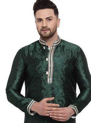 Kurta Embroidered Banarasi Silk in Green