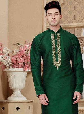 Kurta Pyjama Embroidered Art Dupion Silk in Green