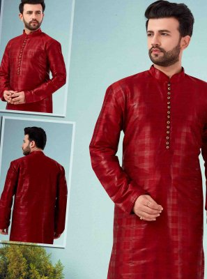 Kurta Pyjama Embroidered Art Dupion Silk in Maroon