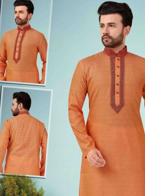 Kurta Pyjama Embroidered Art Dupion Silk in Orange