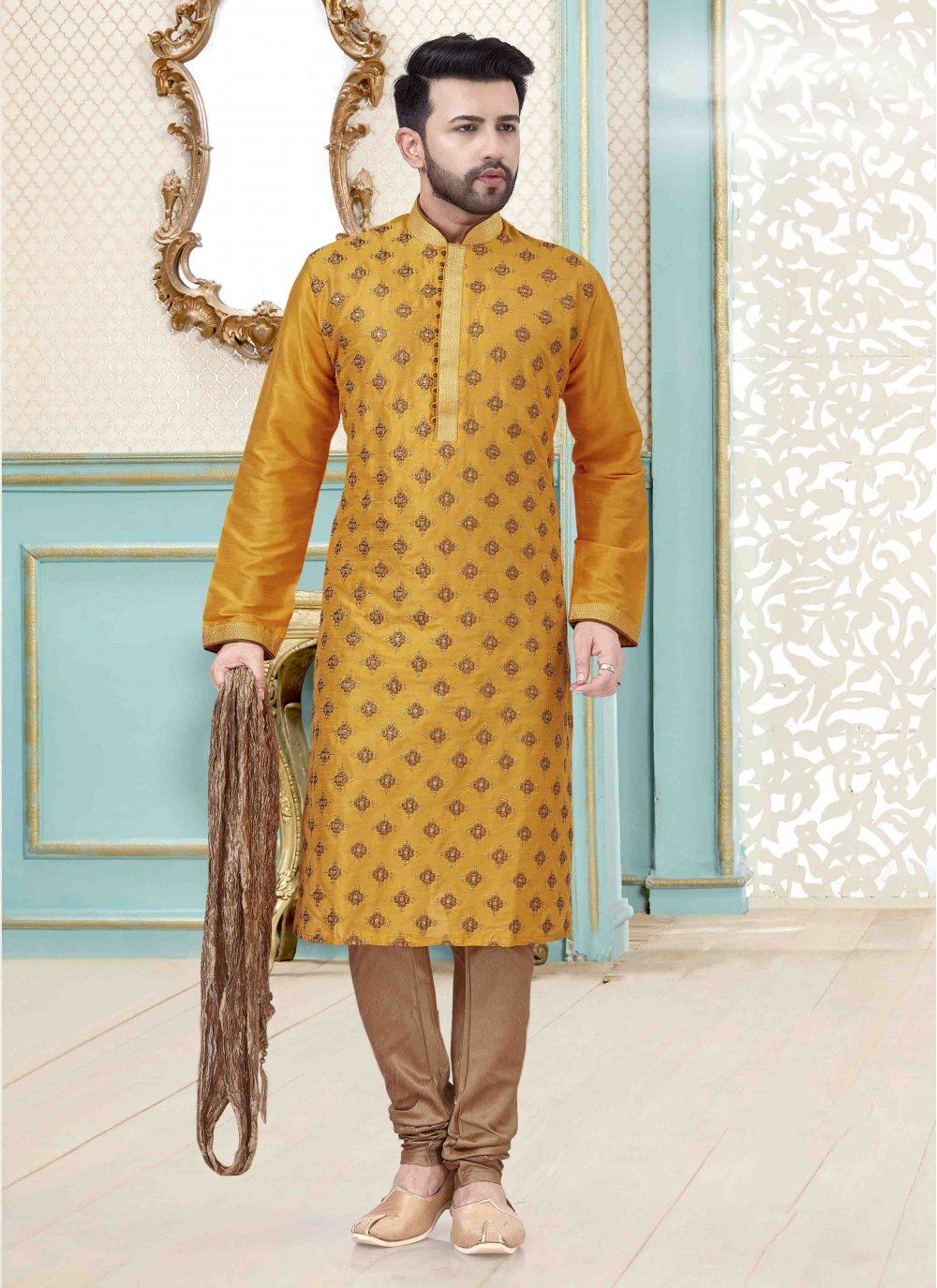 Kurta Pyjama Embroidered Art Dupion Silk in Yellow
