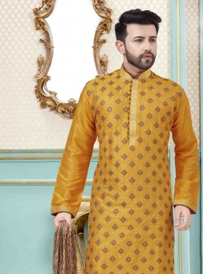 Kurta Pyjama Embroidered Art Dupion Silk in Yellow