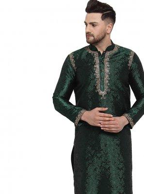 Kurta Pyjama Embroidered Banarasi Silk in Green