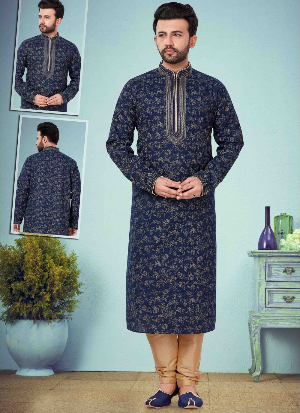 Kurta Pyjama Embroidered Cotton Silk in Navy Blue