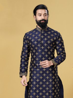 Kurta Pyjama Embroidered Dupion Silk in Blue