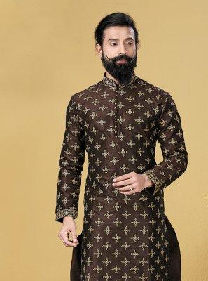 Kurta Pyjama Embroidered Dupion Silk in Brown